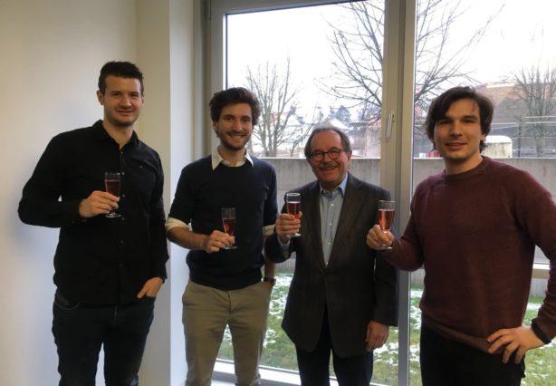 Florian Gebetsroither, Christoph Grimmer, Herr Fronius, Stephan Weinberger (v.l.n.r.)